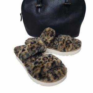 Ugg Kollaburra Fuzz-On Cheetah Slide Slipper size